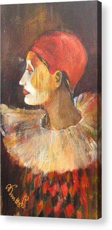 Alicja Knitter Coe Paintings Acrylic Print featuring the painting Arlequin In A Red Hat by Alicja Coe