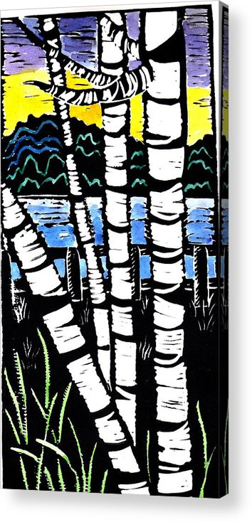 Birch Tree Acrylic Print featuring the painting Birch Lake by Jane Croteau