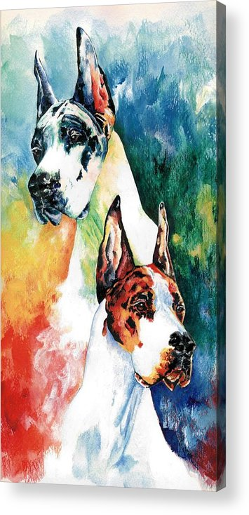 Great Dane Acrylic Print featuring the painting Fire And Ice by Kathleen Sepulveda
