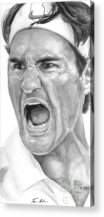 Federer Acrylic Print featuring the painting Intensity Federer by Tamir Barkan