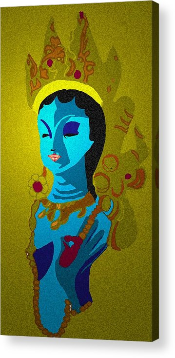 Hindu Goddess Acrylic Print featuring the drawing Lakashimi Gold by Jennifer Ott