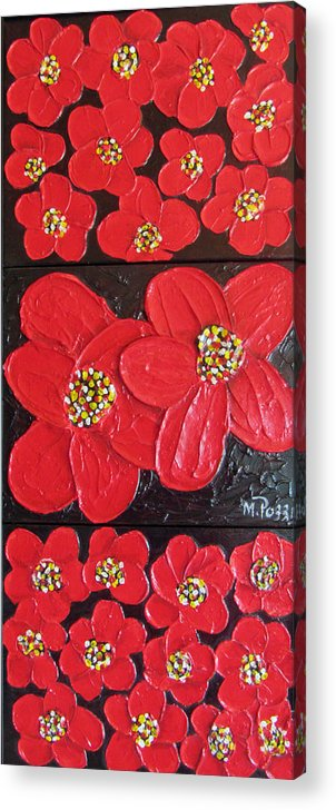 New Acrylic Print featuring the painting Red Flowers by Merlene Pozzi