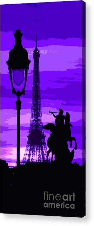 Paris Acrylic Print featuring the photograph Paris Tour Eiffel Violet by Yuriy Shevchuk
