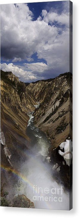 Grand Canyon Of The Yellowstone Acrylic Print featuring the photograph Grand Canyon Of The Yellowstone - 25x63 by J L Woody Wooden