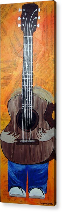 Guitar Acrylic Print featuring the mixed media Play For Me by Sharon Supplee
