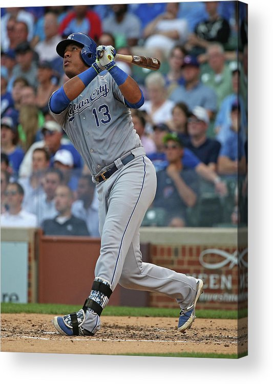 Salvador Perez Diaz Acrylic Print featuring the photograph Kansas City Royals V Chicago Cubs by Jonathan Daniel