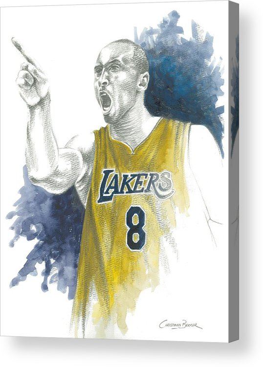 Kobe Acrylic Print featuring the painting Kobe Bryant by Christiaan Bekker