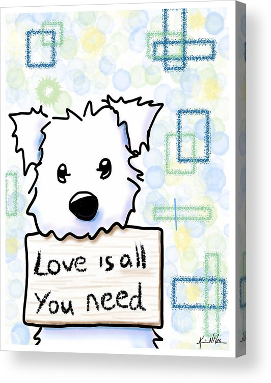 Ipad Painting Acrylic Print featuring the drawing Love Is All You Need by Kim Niles