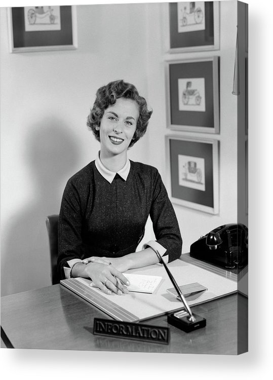 Photography Acrylic Print featuring the photograph 1950s Woman Sitting At Information Desk by Vintage Images