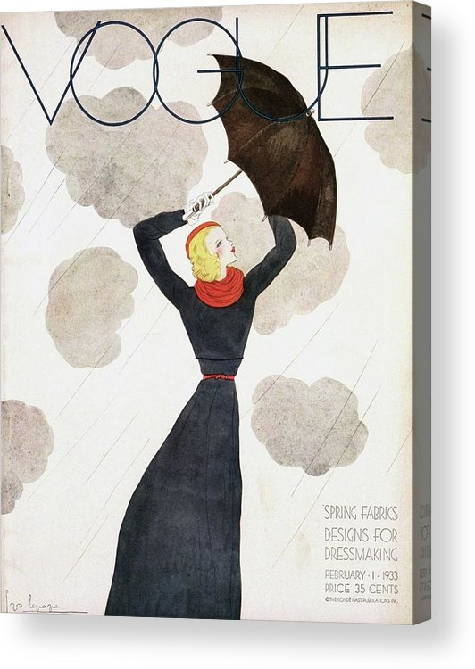 Fashion Acrylic Print featuring the photograph A Vintage Vogue Magazine Cover Of A Woman by Georges Lepape