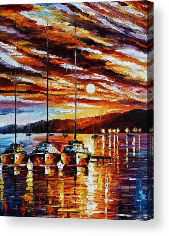 Sea Acrylic Print featuring the painting 3 Borthers by Leonid Afremov