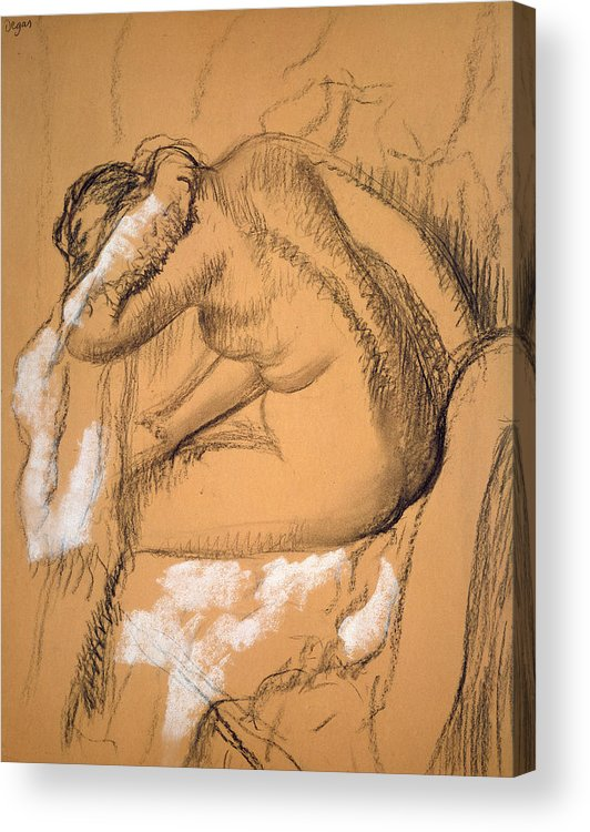 Acrylic Print featuring the drawing Woman Drying Herself by Edgar Degas