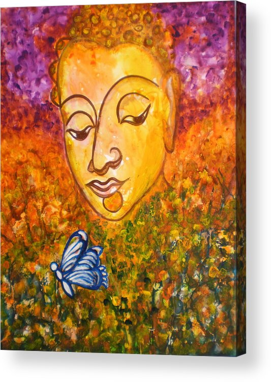 Abstract Print Art Painting Buddha Butterfly Purple Inspirational Traditional Yellow Red Orange Acrylic Print featuring the photograph A Soulful Journey by Manjiri Kanvinde