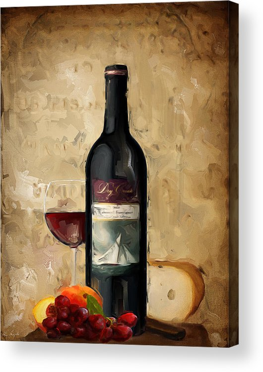 Wine Acrylic Print featuring the painting Cabernet Iv by Lourry Legarde