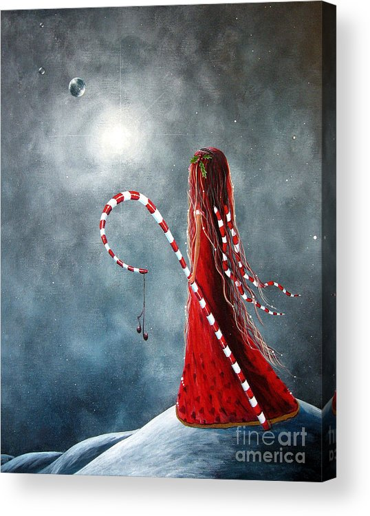 Fairies Acrylic Print featuring the painting Candy Cane Fairy By Shawna Erback by Artisan Parlour