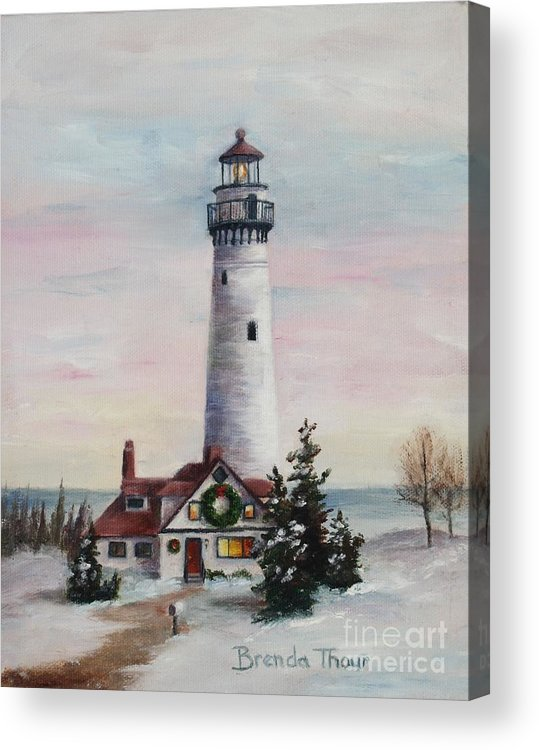 Lighthouse Acrylic Print featuring the painting Christmas Light by Brenda Thour