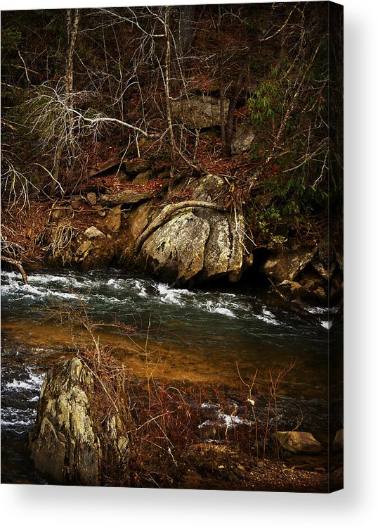 Black And White Acrylic Print featuring the photograph Creek by Mario Celzner