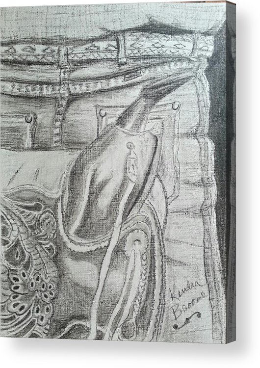Saddle Acrylic Print featuring the drawing Days Done by Kendra DeBerry