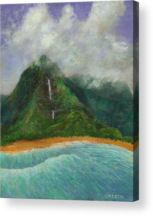 Coastal Decor Acrylic Print featuring the painting Distant Falls by Kenneth Grzesik