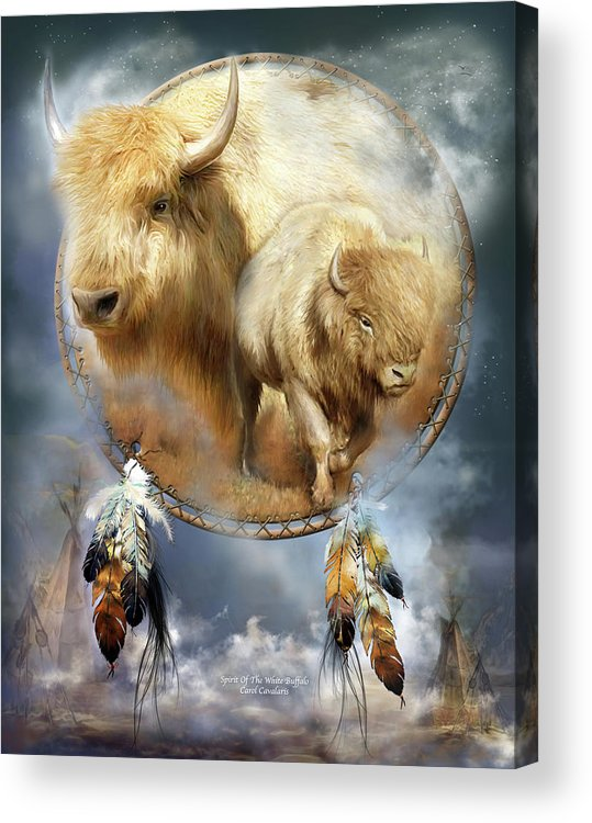 Carol Cavalaris Acrylic Print featuring the mixed media Dream Catcher - Spirit Of The White Buffalo by Carol Cavalaris