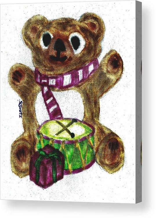 Teddybear Acrylic Print featuring the pastel Drummer Teddy by Shaunna Juuti