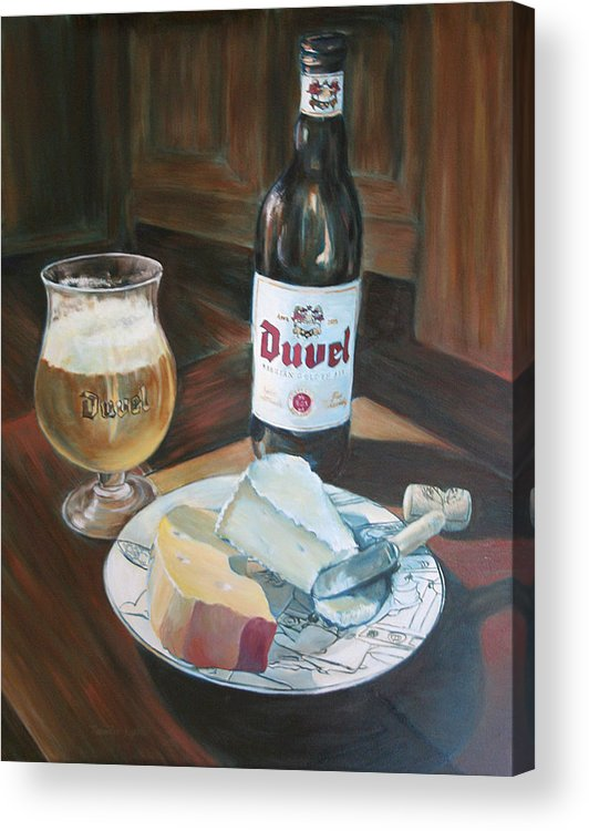 Cheese Acrylic Print featuring the painting Duvel And Cheese Plate by Jennifer Lycke