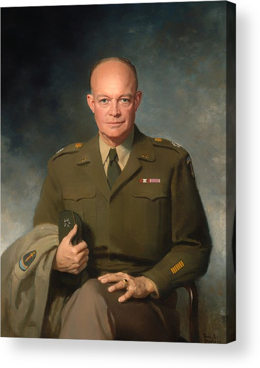 Painting Acrylic Print featuring the painting Dwight D Eisenhower by Mountain Dreams