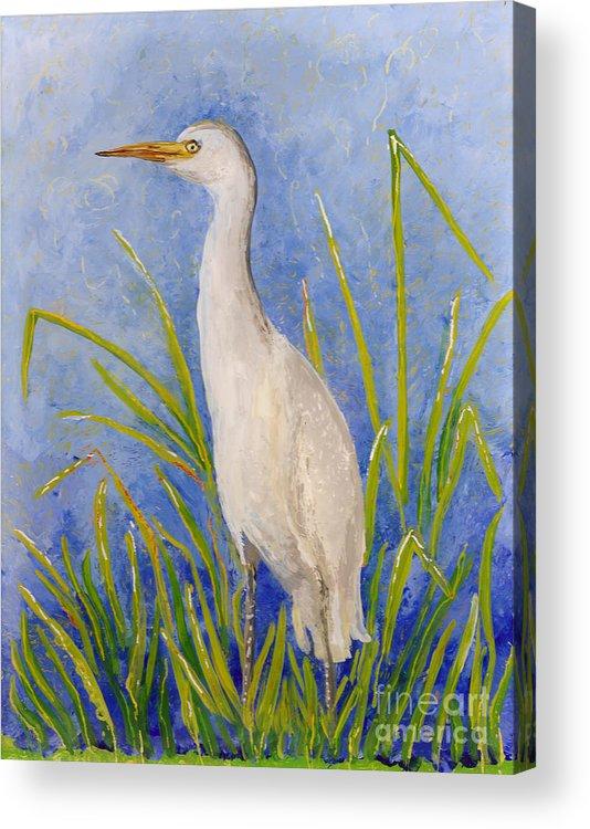 Hawaii Birds Acrylic Print featuring the painting Egret Morning by Anna Skaradzinska