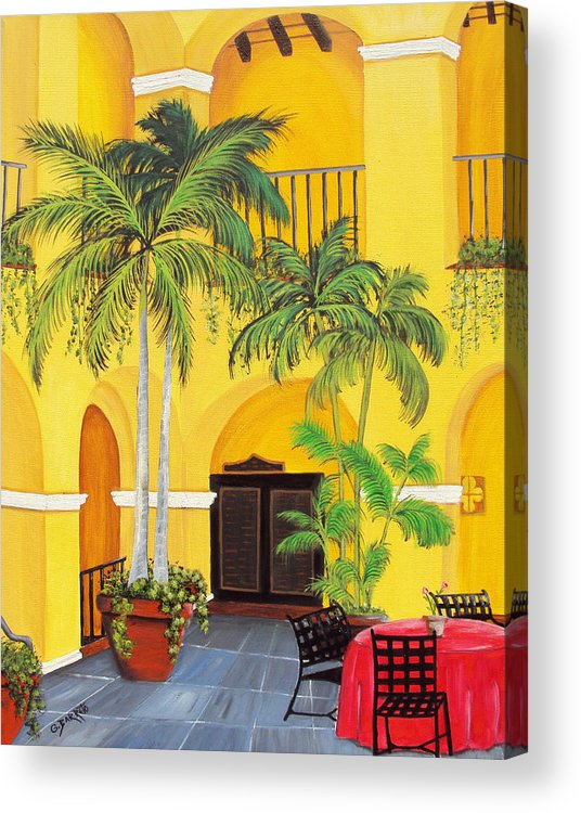 Puerto Rico Convent Acrylic Print featuring the painting El Convento In Old San Juan by Gloria E Barreto-Rodriguez