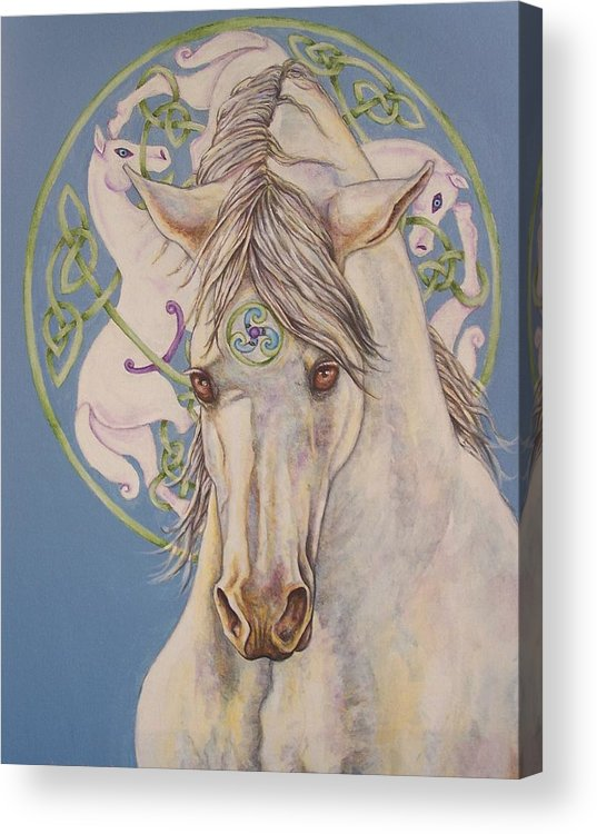 Celtic Acrylic Print featuring the painting Epona The Great Mare by Beth Clark-McDonal