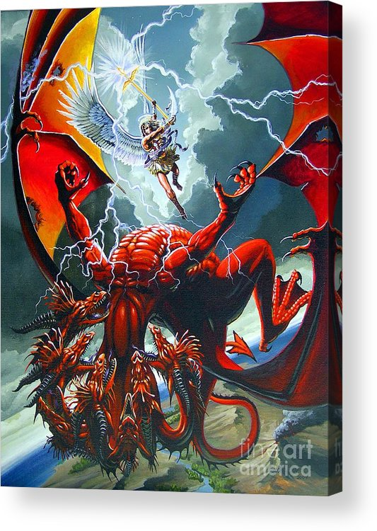 Dragon Acrylic Print featuring the painting Fall Of The Hydra by Stanley Morrison