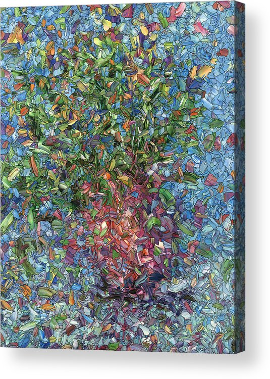 Flowers Acrylic Print featuring the painting Falling Flowers by James W Johnson