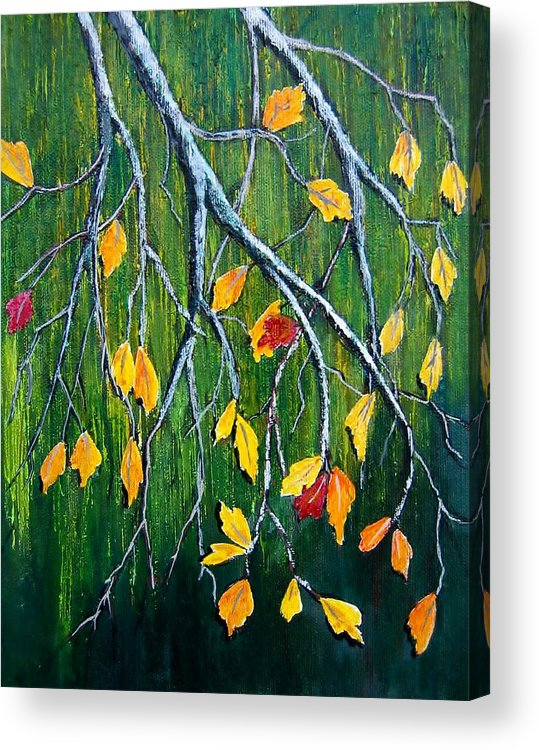 Oak Tree Acrylic Print featuring the painting Falling by Suzanne Theis