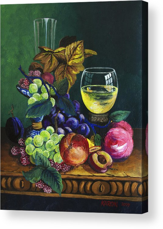 Fruit And Wine Acrylic Print featuring the painting Fruit And Wine by Karon Melillo DeVega