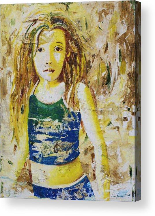 Portrait Acrylic Print featuring the painting Golden Dreams by Elsa Zarduz