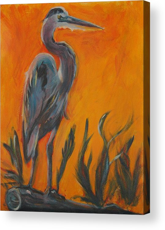 Wildlife Acrylic Print featuring the painting Great Blue by Stephanie Allison