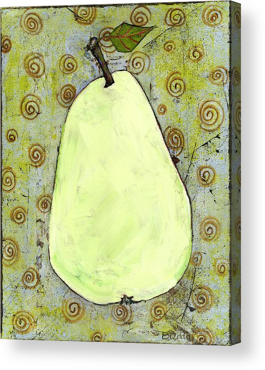Art Acrylic Print featuring the painting Green Pear Art With Swirls by Blenda Studio