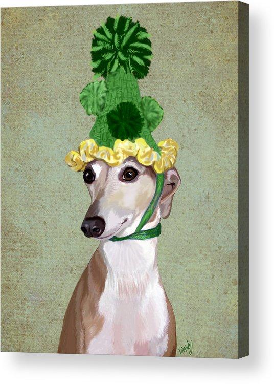 Greyhound Framed Prints Acrylic Print featuring the digital art Greyhound Green Bobble Hat by Kelly McLaughlan