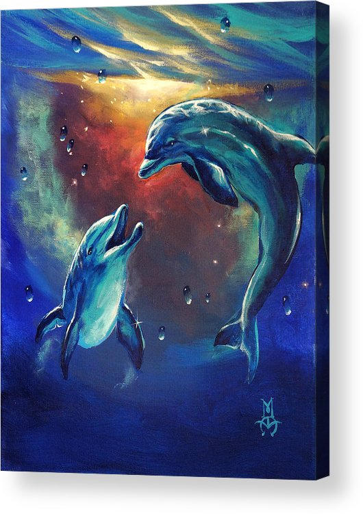 Dolphins Acrylic Print featuring the painting Happy Dolphins by Marco Antonio Aguilar