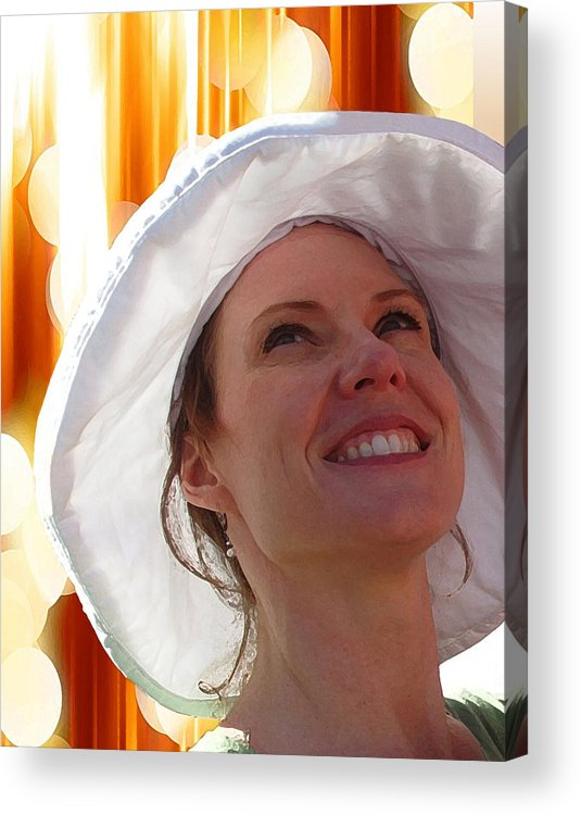 Happy In The Light Acrylic Print featuring the mixed media Happy In The Light by Ellen Henneke