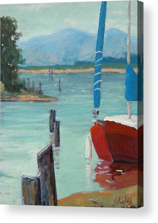Acrylic Print featuring the painting Inlet With Sailboat  Laconner Wa by Raymond Kaler