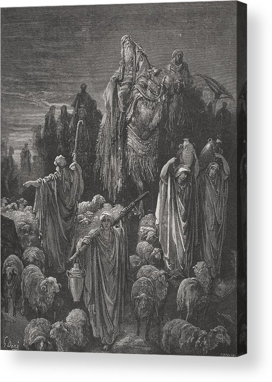 Famine Acrylic Print featuring the painting Jacob Goeth Into Egypt by Gustave Dore