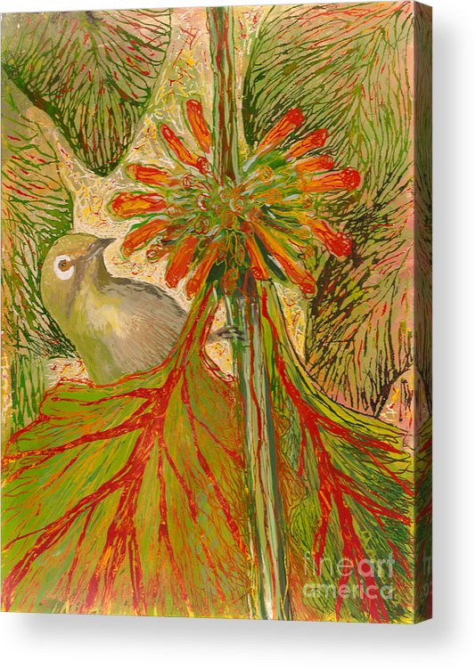 Hawaii Birds Acrylic Print featuring the painting Japanese White Eye by Anna Skaradzinska