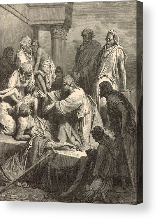 Biblical Acrylic Print featuring the drawing Jesus Healing The Sick by Antique Engravings