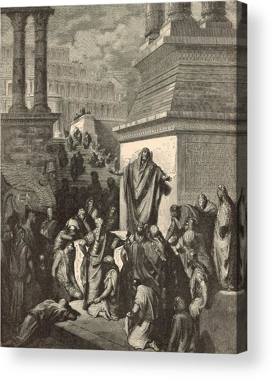 Biblical Acrylic Print featuring the drawing Jonah Calling Nineveh To Repentance by Antique Engravings