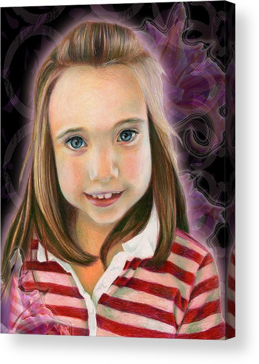 Young Acrylic Print featuring the drawing Kaylee by Heather Raven Illingworth