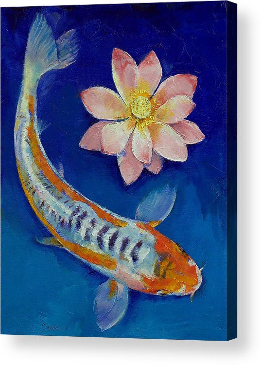 Lotus Acrylic Print featuring the painting Koi Fish And Lotus by Michael Creese