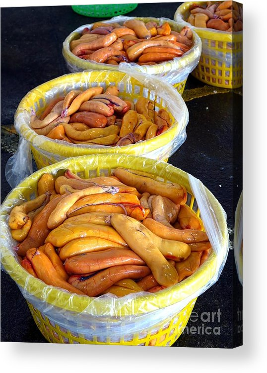 Roe Acrylic Print featuring the photograph Large Baskets With Mullet Roe by Yali Shi