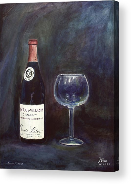 Lime Painting Acrylic Print featuring the painting Latour Wine Buon Fresco 3 Primary Pigments by Don Jusko