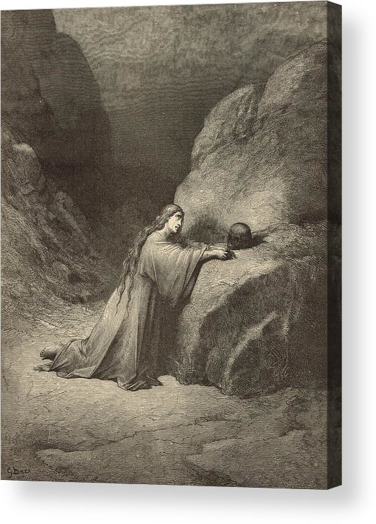 Biblical Acrylic Print featuring the drawing Mary Magdalene by Antique Engravings